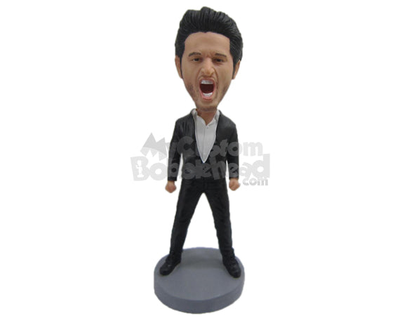 Custom Bobblehead Handsome Hunk Striking A Powerful Pose - Leisure & Casual Casual Males Personalized Bobblehead & Cake Topper