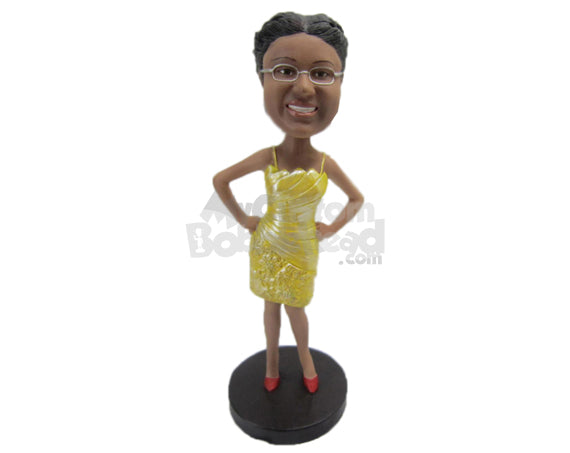 Custom Bobblehead Beautiful Lady In Stylish Designer Outfit - Leisure & Casual Casual Females Personalized Bobblehead & Cake Topper