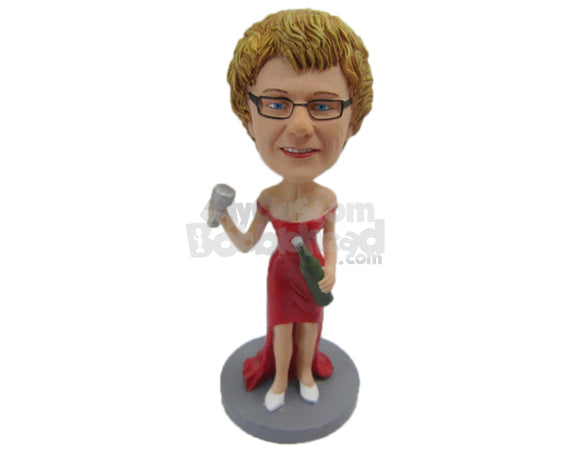 Custom Bobblehead Gorgeous Lady In Stylish Dress With A Beer In Hand - Leisure & Casual Casual Females Personalized Bobblehead & Cake Topper