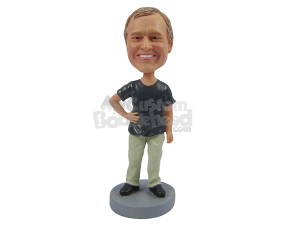 Custom Bobblehead Happy Smiling Man In Casuals Posing With Hand On His Waist - Leisure & Casual Casual Males Personalized Bobblehead & Cake Topper