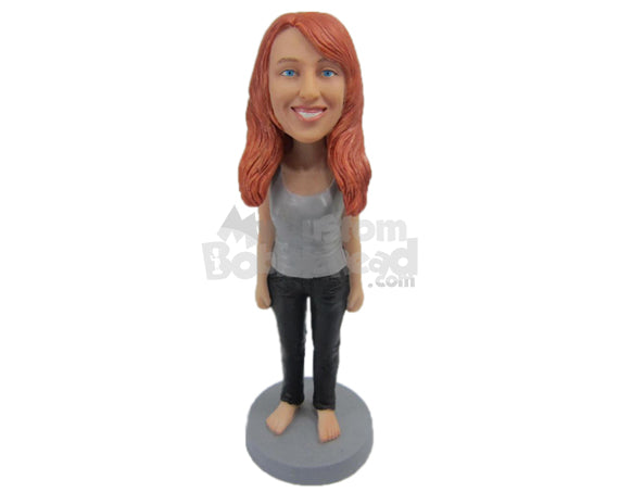 Custom Bobblehead Beautiful Girl In Sleeveless Top - Leisure & Casual Casual Females Personalized Bobblehead & Cake Topper