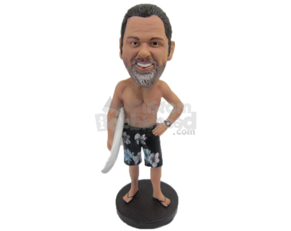Custom Bobblehead Handsome Hunk In Short With A Surfing Board - Leisure & Casual Casual Males Personalized Bobblehead & Cake Topper