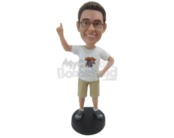 Custom Bobblehead Cool Dude With Enigmatic Charisma In Shorts - Leisure & Casual Casual Males Personalized Bobblehead & Cake Topper