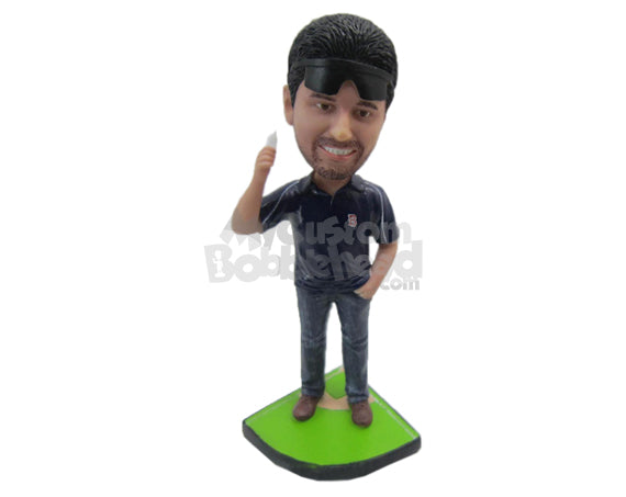 Custom Bobblehead Athletic Male With Sporty Look - Leisure & Casual Casual Males Personalized Bobblehead & Cake Topper