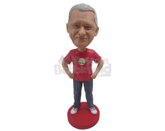 Custom Bobblehead Good Looking Gentleman In Powerful Pose - Leisure & Casual Casual Males Personalized Bobblehead & Cake Topper