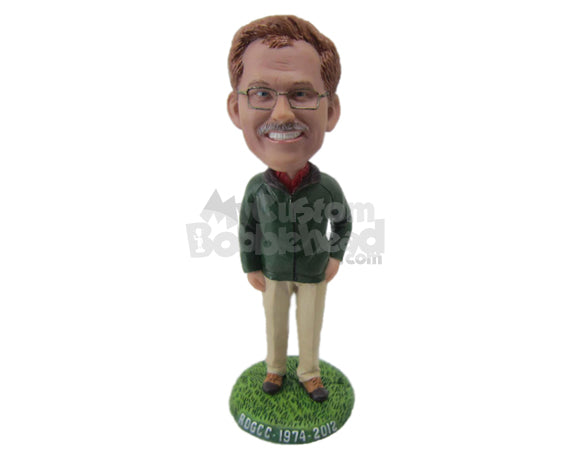 Custom Bobblehead Graceful Gentleman In Evergreen Classic Outfit - Leisure & Casual Casual Males Personalized Bobblehead & Cake Topper