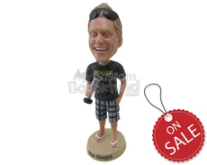 Custom Bobblehead Excited Gentleman In Funky Shorts With A Mic In Hand - Leisure & Casual Casual Males Personalized Bobblehead & Cake Topper