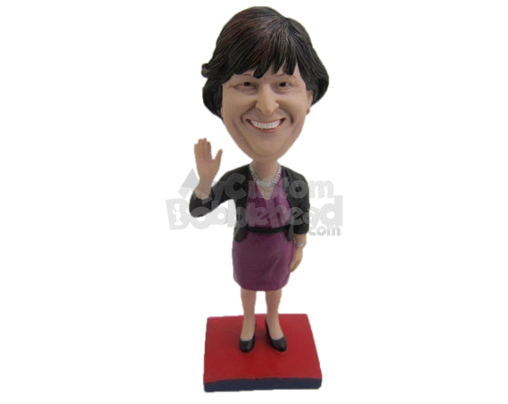 Custom Bobblehead Lovely Woman In Classic Attire With A Stylish Necklace - Leisure & Casual Casual Females Personalized Bobblehead & Cake Topper