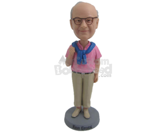 Custom Bobblehead Dashing Gentleman In Bright Coloured Shirt - Leisure & Casual Casual Males Personalized Bobblehead & Cake Topper
