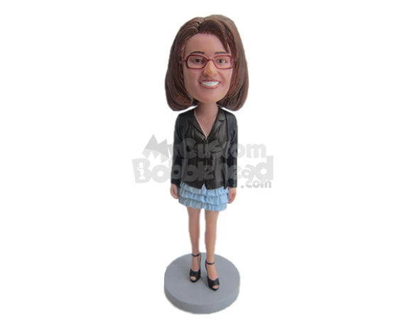 Custom Bobblehead Beautiful Girl In Trendy Skirt And Jacket - Leisure & Casual Casual Females Personalized Bobblehead & Cake Topper