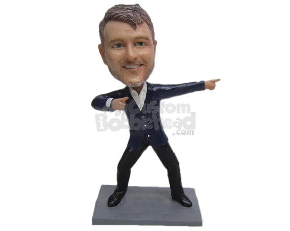 Custom Bobblehead Handsome Dude Rocking In Suit - Leisure & Casual Casual Males Personalized Bobblehead & Cake Topper