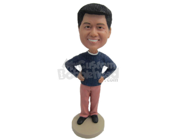 Custom Bobblehead Good Looking Male Smiling With Confidence - Leisure & Casual Casual Males Personalized Bobblehead & Cake Topper