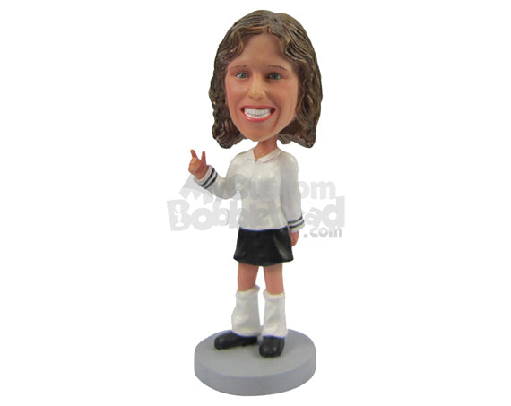 Custom Bobblehead Beautiful Girl With A Great Smile - Leisure & Casual Casual Females Personalized Bobblehead & Cake Topper