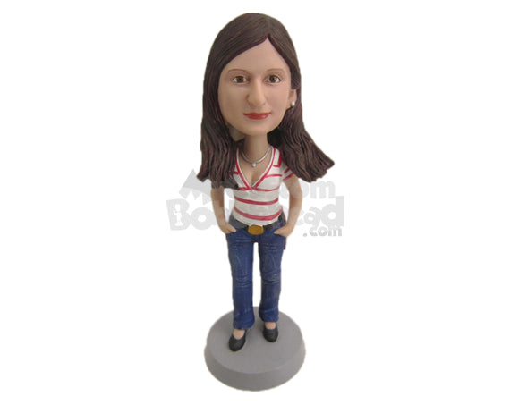 Custom Bobblehead Elegant Lady With Trendy Top And Beautiful Necklace - Leisure & Casual Casual Females Personalized Bobblehead & Cake Topper