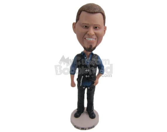 Custom Bobblehead Handsome Guy With An Awesome Half Jacket - Leisure & Casual Casual Males Personalized Bobblehead & Cake Topper