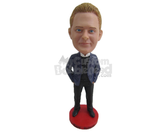 Custom Bobblehead Well Groomed Man In Perfect Suit - Leisure & Casual Casual Males Personalized Bobblehead & Cake Topper