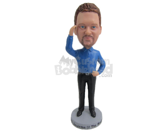 Custom Bobblehead Handsome Male In Professional Attire - Leisure & Casual Casual Males Personalized Bobblehead & Cake Topper
