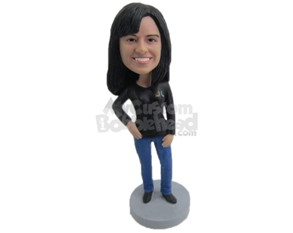 Custom Bobblehead Young Confident Girl In Trendy Outfit - Leisure & Casual Casual Females Personalized Bobblehead & Cake Topper