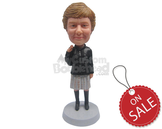 Custom Bobblehead Elegant Woman Styling Out With A Dashing Long Boot And A Handbag Over Her Shoulder - Leisure & Casual Casual Females Personalized Bobblehead & Cake Topper
