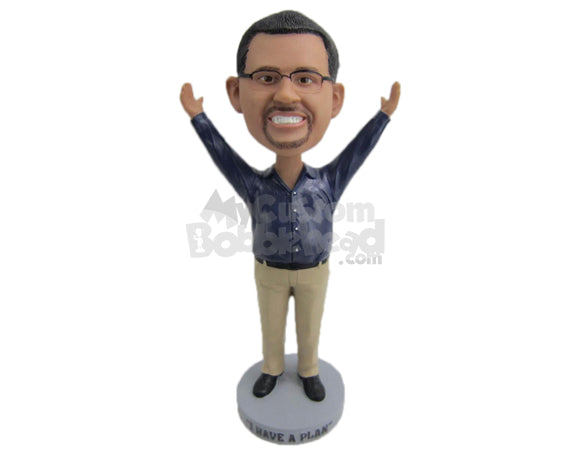 Custom Bobblehead Happy Smart Gentleman With Arms Wide Open - Leisure & Casual Casual Males Personalized Bobblehead & Cake Topper