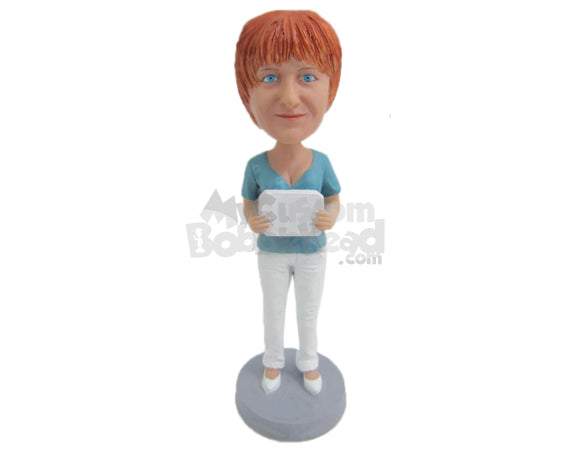 Custom Bobblehead Lovely Lady In A Beautiful Top - Leisure & Casual Casual Females Personalized Bobblehead & Cake Topper