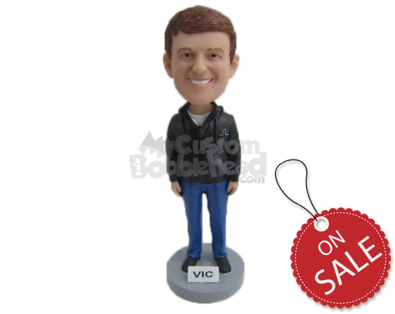 Custom Bobblehead Elegant Smiling Boy In Stylish Jacket - Leisure & Casual Casual Males Personalized Bobblehead & Cake Topper