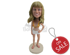 Custom Bobblehead Sexy Girl In Shorts And Bikini Top - Leisure & Casual Casual Females Personalized Bobblehead & Cake Topper