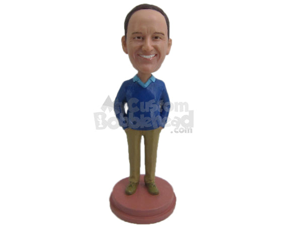Custom Bobblehead Dapper Male In Upright Position With Hands In Pocket - Leisure & Casual Casual Males Personalized Bobblehead & Cake Topper