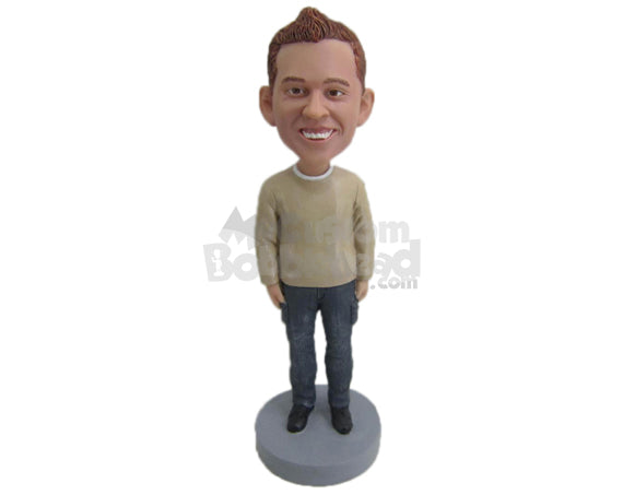 Custom Bobblehead Happy Lad In Upright Position - Leisure & Casual Casual Males Personalized Bobblehead & Cake Topper