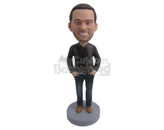 Custom Bobblehead Dashing Dude Killing It With Trendy Shirt - Leisure & Casual Casual Males Personalized Bobblehead & Cake Topper