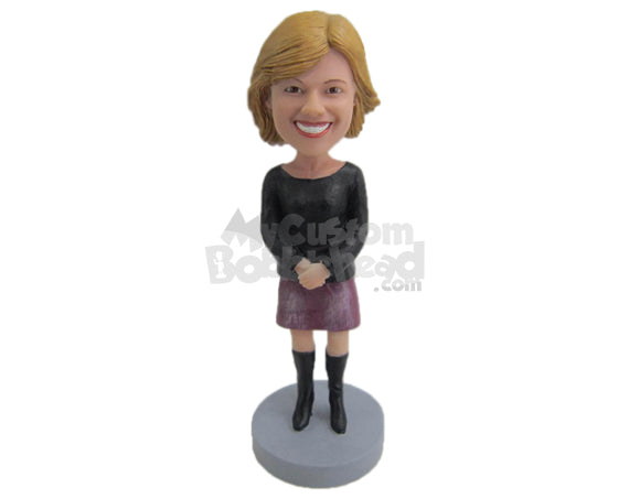 Custom Bobblehead Beautiful Lady In Skirt With Hands Clenched - Leisure & Casual Casual Females Personalized Bobblehead & Cake Topper