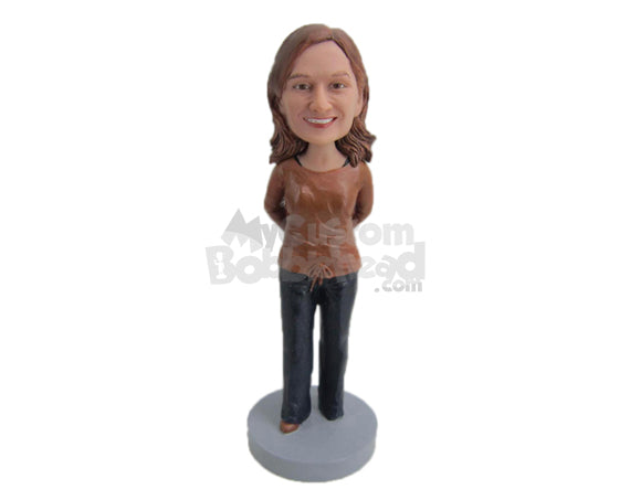 Custom Bobblehead Happy Cute Girl With Hands Clenched - Leisure & Casual Casual Females Personalized Bobblehead & Cake Topper