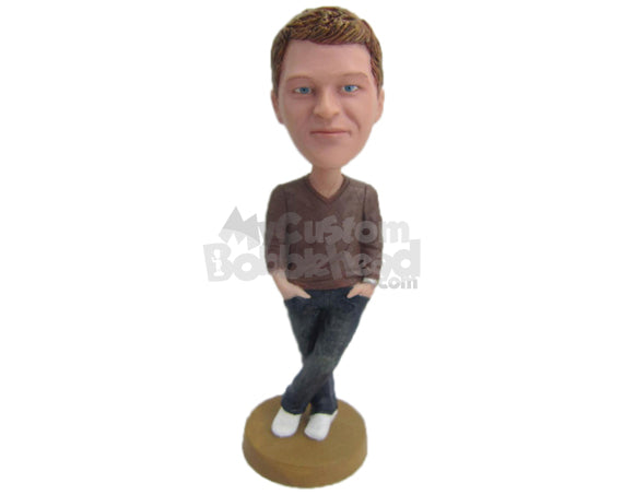 Custom Bobblehead Good Looking Boy Wearing Casual Long-Sleeved T-Shirt And Jeans With Sneaker Posing With His Leg Crossed - Leisure & Casual Casual Males Personalized Bobblehead & Cake Topper