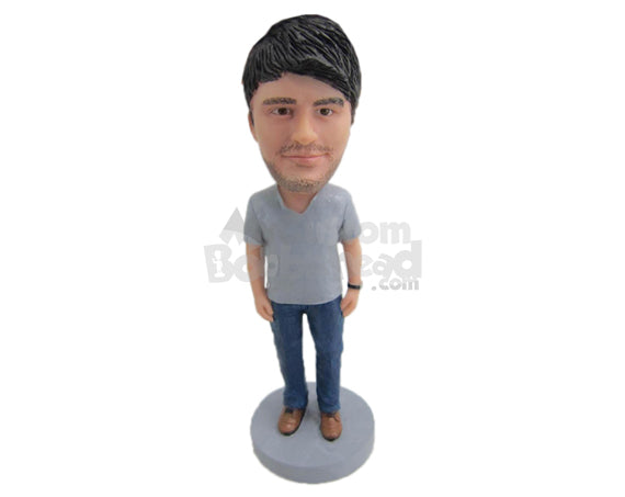 Custom Bobblehead Handsome Pal Wearing Casual T-Shirt And Blue Jeans - Leisure & Casual Casual Males Personalized Bobblehead & Cake Topper