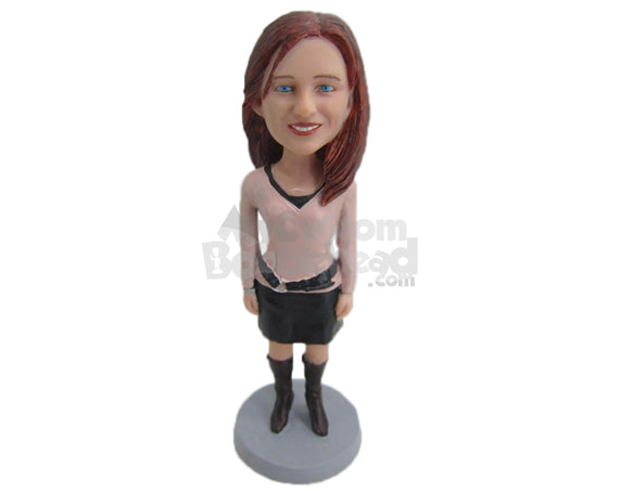 Custom Bobblehead Gorgeous Gal Standing Straight Wearing A Long Sleeve Blouse And Short Skirt With Long Boots - Leisure & Casual Casual Females Personalized Bobblehead & Cake Topper