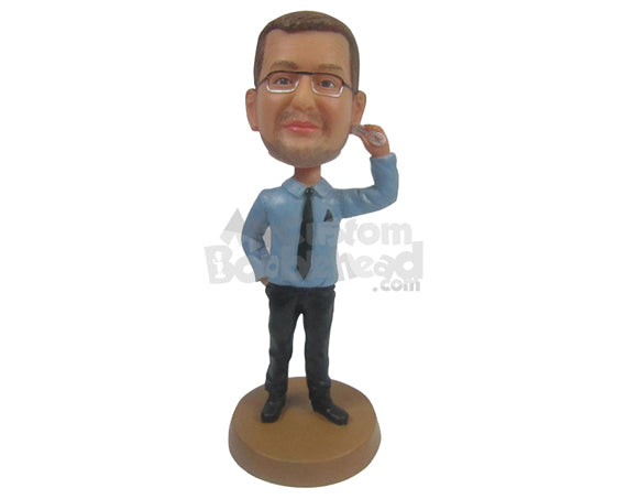 Custom Bobblehead Male Is A Professional Attire With Matching Spectacles And Phone In Hand - Leisure & Casual Casual Males Personalized Bobblehead & Cake Topper