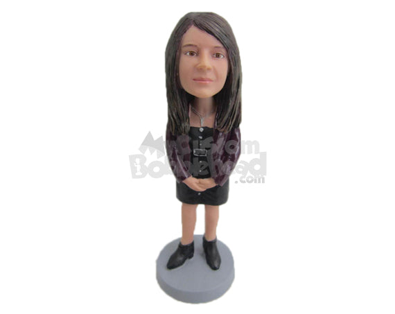 Custom Bobblehead Fashionable Female Wearing A Long-Sleeved Short Dress With Eye Catching Boots - Leisure & Casual Casual Females Personalized Bobblehead & Cake Topper