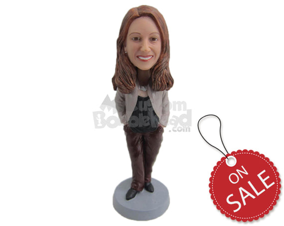 Custom Bobblehead Lady Wearing A Jacket Over Her Top With Silky Pants And Shoes - Leisure & Casual Casual Females Personalized Bobblehead & Cake Topper