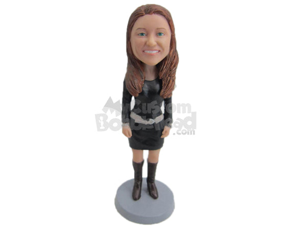 Custom Bobblehead Girl Ready To Rock Wearing A Short Dress With Long Boots - Leisure & Casual Casual Females Personalized Bobblehead & Cake Topper