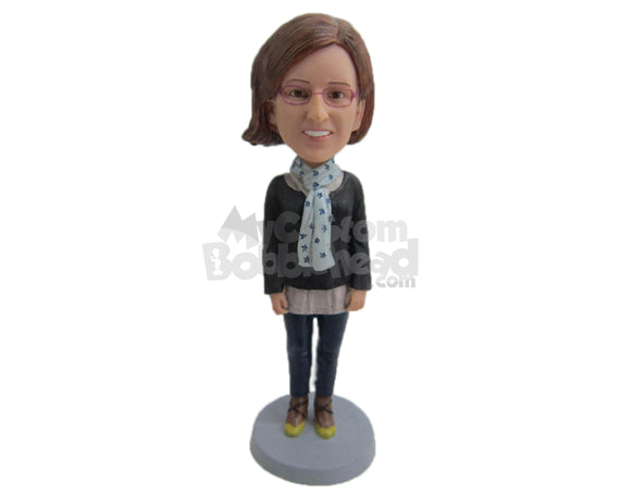 Custom Bobblehead Girl Feeling The Cold Wearing A Long-Sleeved Shirt And Tight Jeans With A Scarf Around Her Neck - Leisure & Casual Casual Females Personalized Bobblehead & Cake Topper