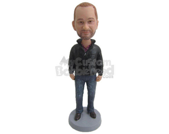 Custom Bobblehead Fashionable Man Looking Ready Wearing A Jacket And Jeans With His Casual Shoes - Leisure & Casual Casual Males Personalized Bobblehead & Cake Topper