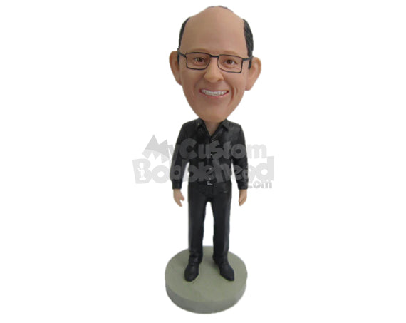 Custom Bobblehead Handsome Dude Looks Happy Wearing Long-Sleeved Shirt And Casual Pant With Shoes - Leisure & Casual Casual Males Personalized Bobblehead & Cake Topper