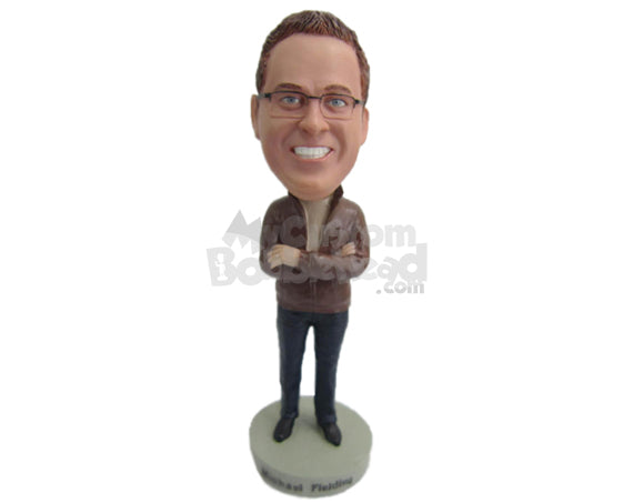Custom Bobblehead Handsome Looking Man Wearing A Leather Jacket And Front-Flat Pant With Casual Shoes - Leisure & Casual Casual Males Personalized Bobblehead & Cake Topper