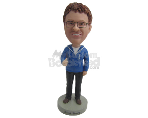 Custom Bobblehead Cool Pal Wearing A Hoodie With Casual Pant And Shoes - Leisure & Casual Casual Males Personalized Bobblehead & Cake Topper