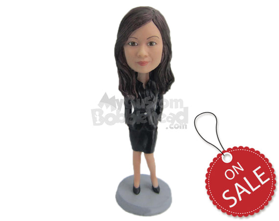 Custom Bobblehead Fashionable Lady Wearing Beautiful Dress And High Heels With Both Hands In The Pockets - Leisure & Casual Casual Females Personalized Bobblehead & Cake Topper