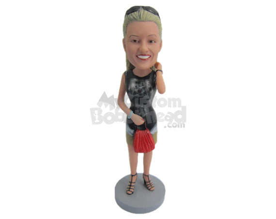 Custom Bobblehead Lady Wearing A Short-Sleeved Dress And A Skirt With Fashionable Footwear - Leisure & Casual Casual Females Personalized Bobblehead & Cake Topper