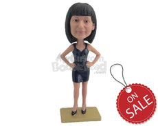 Custom Bobblehead Fashionable Lady Wearing A Top And Short Skirt With High Heels - Leisure & Casual Casual Females Personalized Bobblehead & Cake Topper