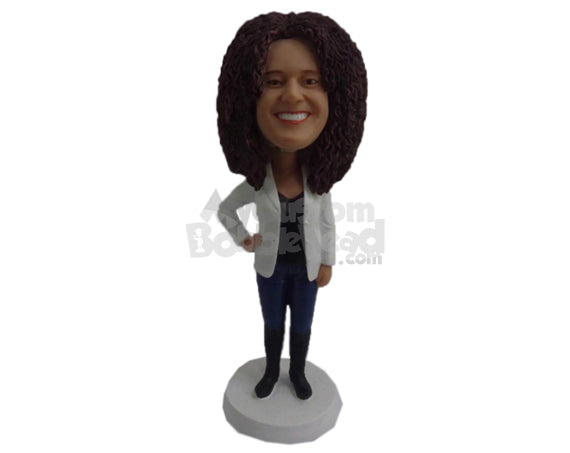 Custom Bobblehead Good Looking Lady Wearing A Jacket Over Her T-Shirt With Jeans And Sneakers - Leisure & Casual Casual Females Personalized Bobblehead & Cake Topper