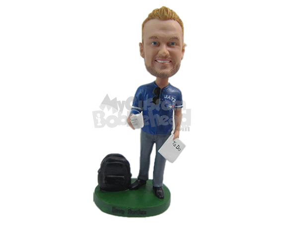 Custom Bobblehead Good Looking Due Wearing A Jersey With Casual Pants And Shoes - Leisure & Casual Casual Males Personalized Bobblehead & Cake Topper