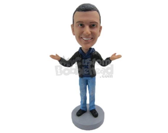 Custom Bobblehead Dude Wearing A Jacket And Jeans With Trendy Sneakers - Leisure & Casual Casual Males Personalized Bobblehead & Cake Topper